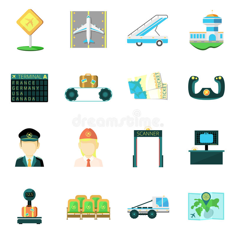 Airport flat icons set. Airport safety custom service baggage scanner and passengers screening flat icons set abstract vector illustration vector illustration