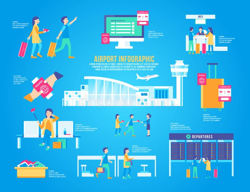 Airport flat infographic vector set, design terminal, icon graphic, transport, travel background modern, landscape, airplane stock illustration