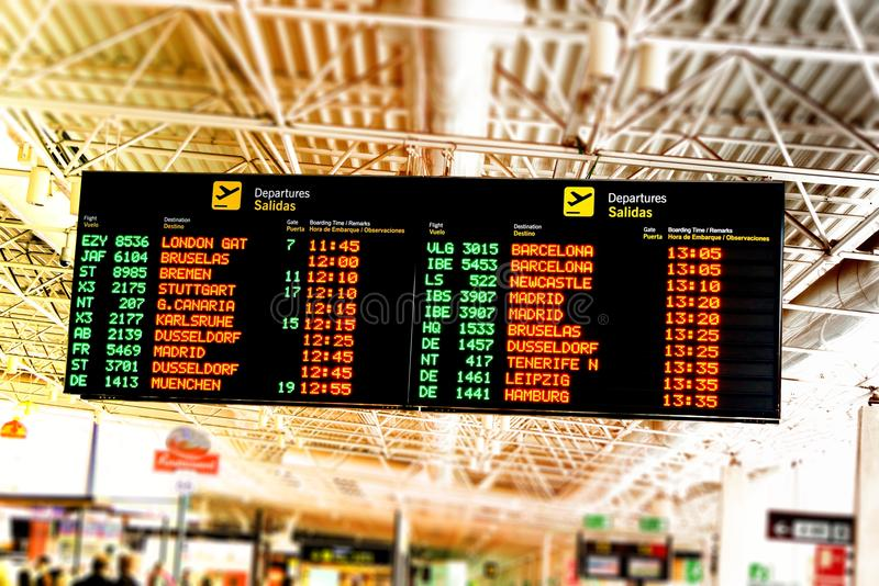 Airport fligt information board. Airport flight information board, canary islands, spain royalty free stock photography