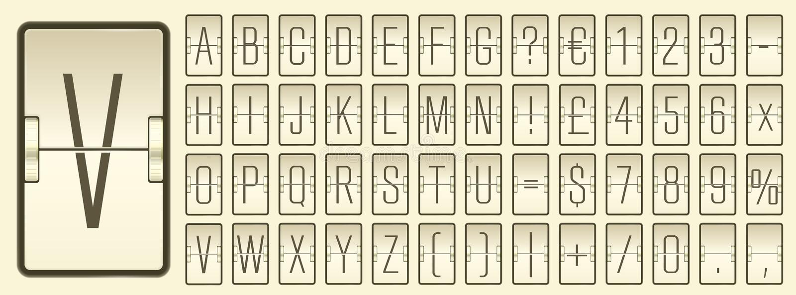 Airport flip board alphabet for flight departure or arrival information showing. Vector illustration. Sepia terminal mechanical scoreboard font with numbers to royalty free illustration