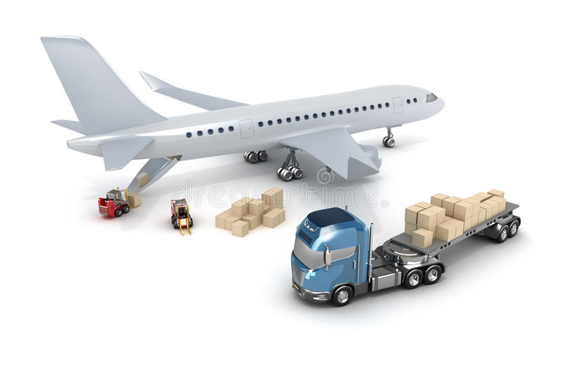 Airport : forklift is loading the airplane royalty free illustration