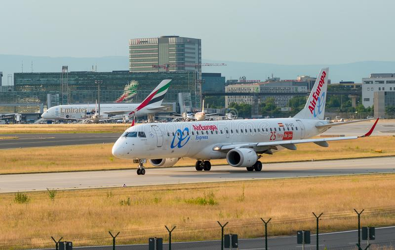 AIRPORT FRANKFURT,GERMANY: JUNE 23, 2017:Embraer E195LR Air Euro royalty free stock image