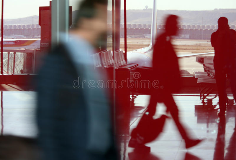 Airport frenzy at Madrid Airport stock images