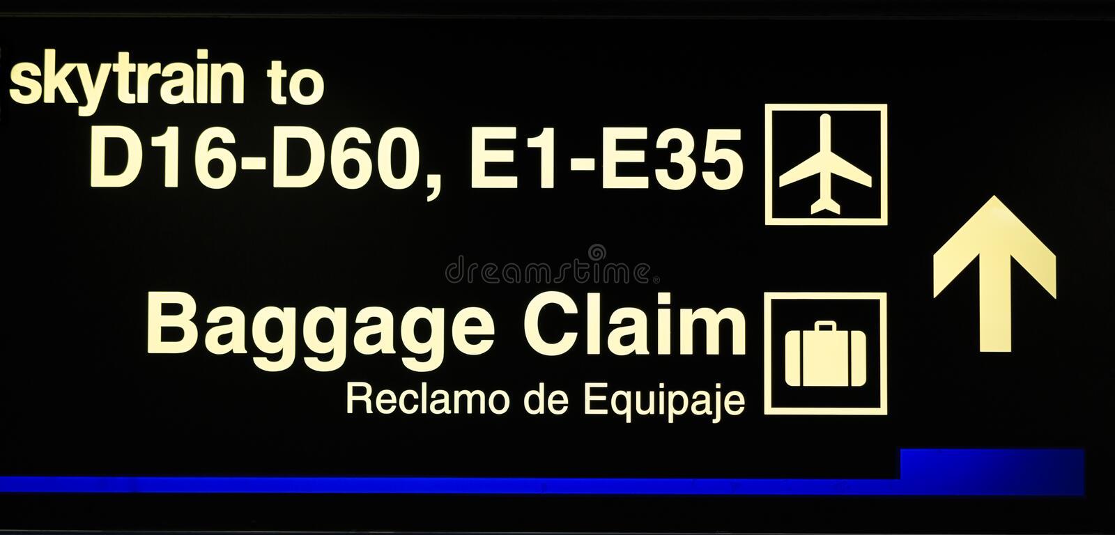 Airport gate and baggage claim sign royalty free stock images