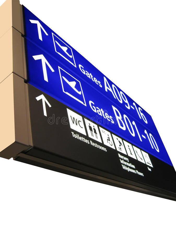 Airport gate sign, flight schedule, airline. The new airport gate board (blue color) sign showing the aeroplane boarding direction, gate numbers (gateway) for stock image