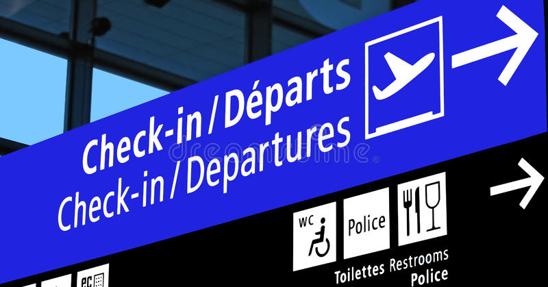 Airport departure gate sign, flight schedule, airline travel diversity. New indoor airport gate board (blue color) sign showing the aeroplane ( royalty free stock photos