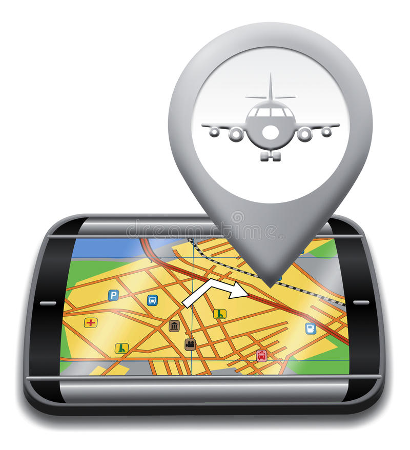 Airport Gps Shows Landing Strip And Airfield royalty free illustration