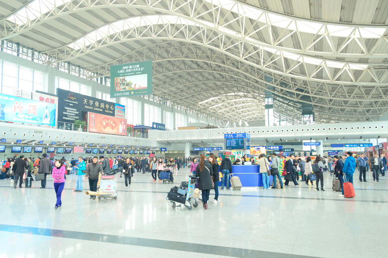 Airport hall. Passengers in airport hall of chengdu,china royalty free stock image