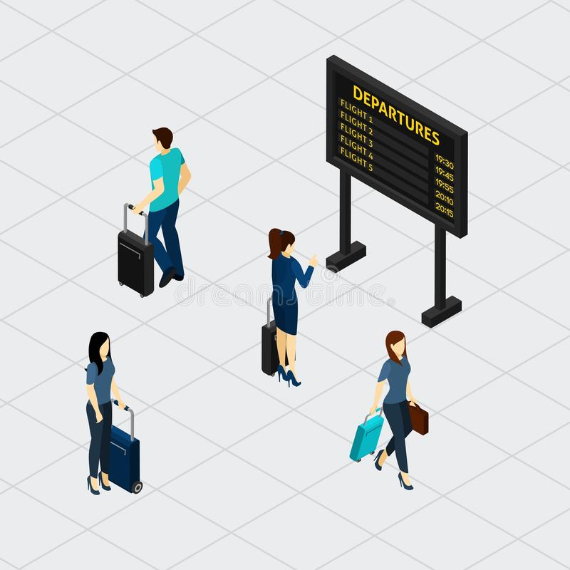 Airport Hall Passengers Isometric Banner royalty free illustration