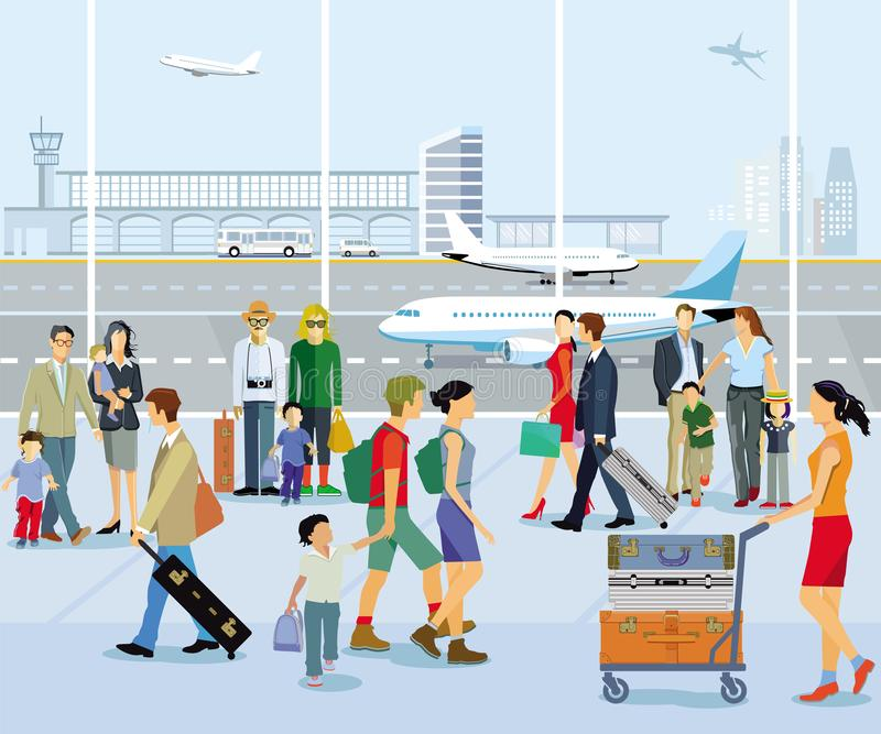 Airport hall, with people and luggage. Illustration royalty free illustration