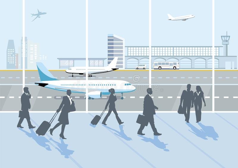 Airport hall, with people and luggage. Ntm, traveler royalty free illustration