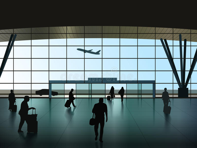 Airport Hall. Vector Airport Hall With Passenger Silhouettes, Eps 10 Vector, Transparency and Gradient Mesh Used royalty free illustration