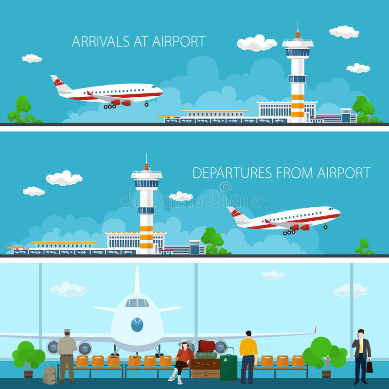 Airport Horizontal Banners royalty free illustration