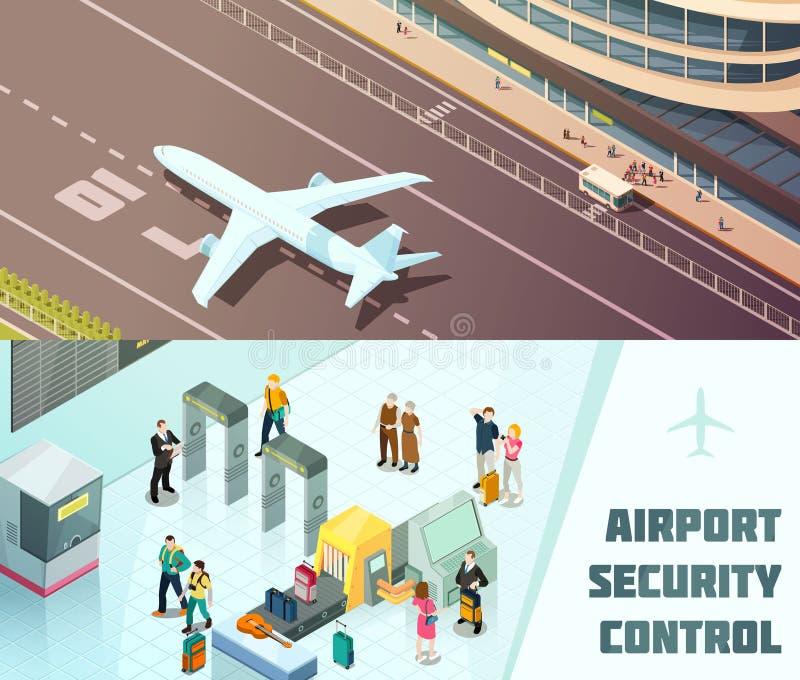 Airport Horizontal Isometric Banners vector illustration