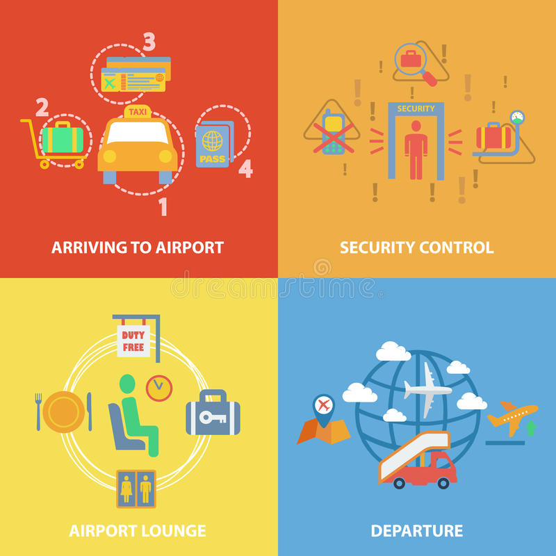 Airport icon flat composition stock illustration