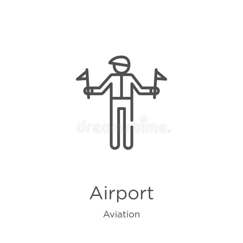Airport icon vector from aviation collection. Thin line airport outline icon vector illustration. Outline, thin line airport icon. Airport icon. Element of vector illustration