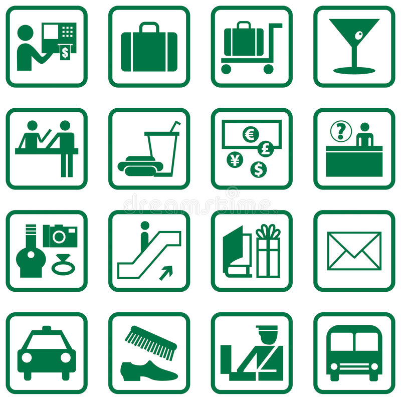 Airport Icons. 16 airport related icons, vector file vector illustration