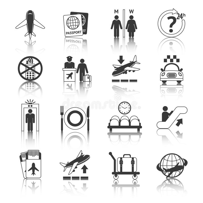 Airport icons black and white set royalty free illustration