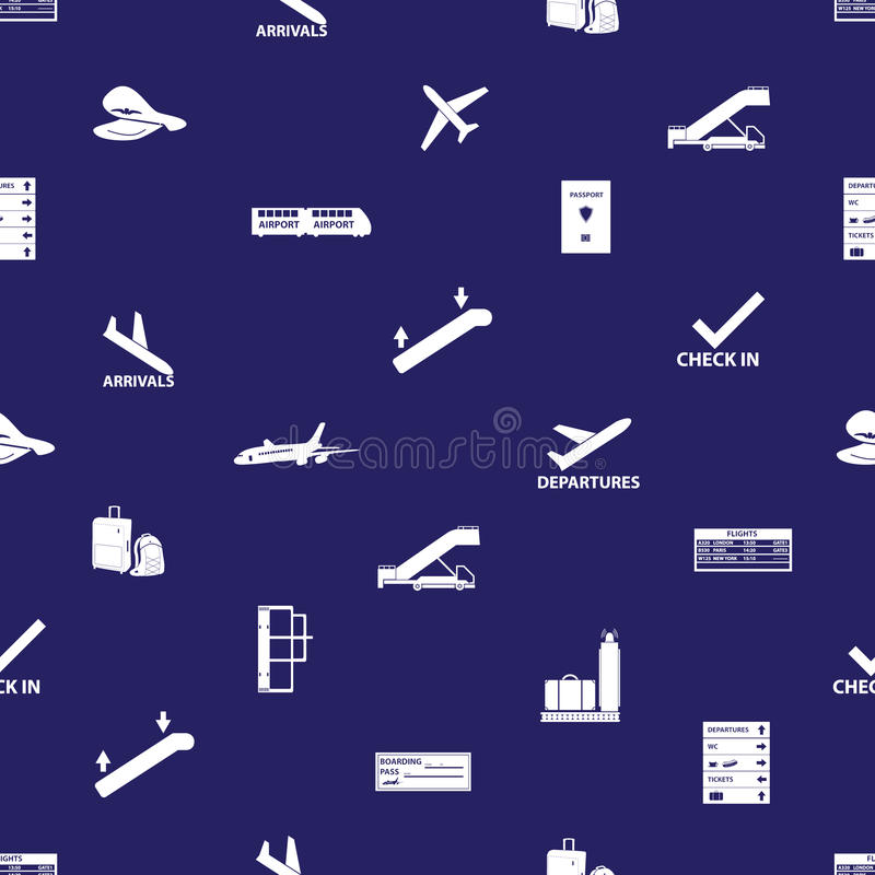 Airport Icons Blue And White Pattern Eps10 Stock Vector