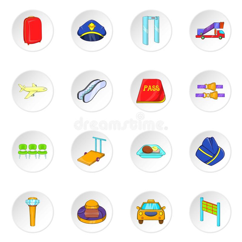 Airport icons, cartoon style vector illustration