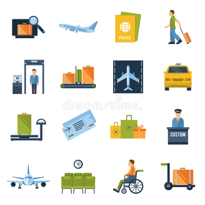 Airport Icons Flat vector illustration