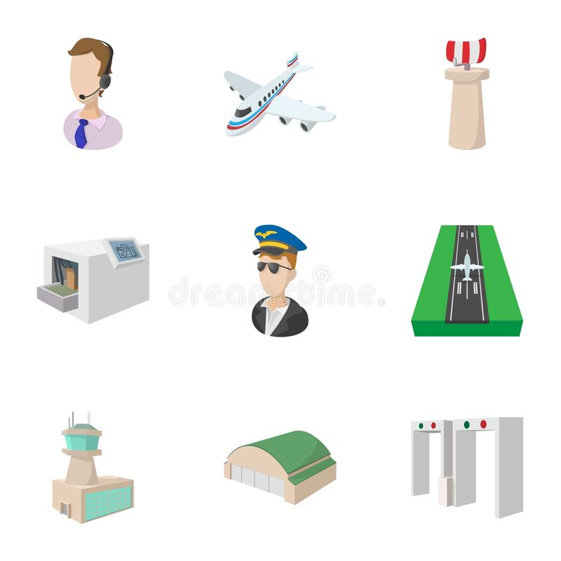 Airport icons set, cartoon style vector illustration
