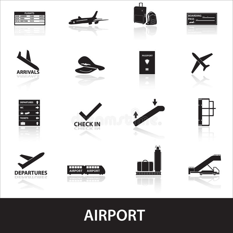 Download Airport icons set eps10 stock illustration. Illustration of backpack - 41144658