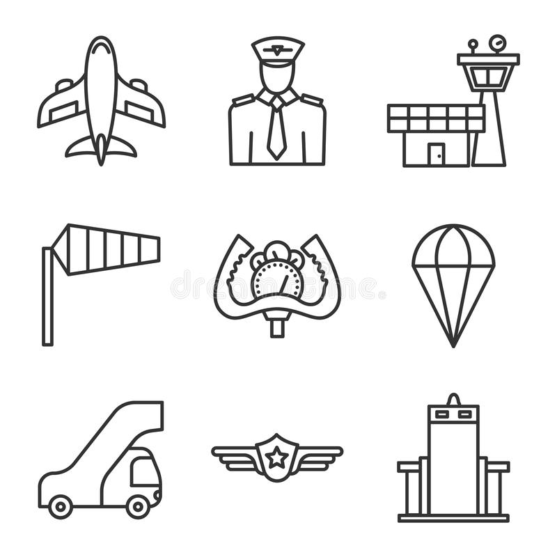 Airport icons set. Linear symbols set on white background. Airport icons set. Linear symbols set on white background vector illustration