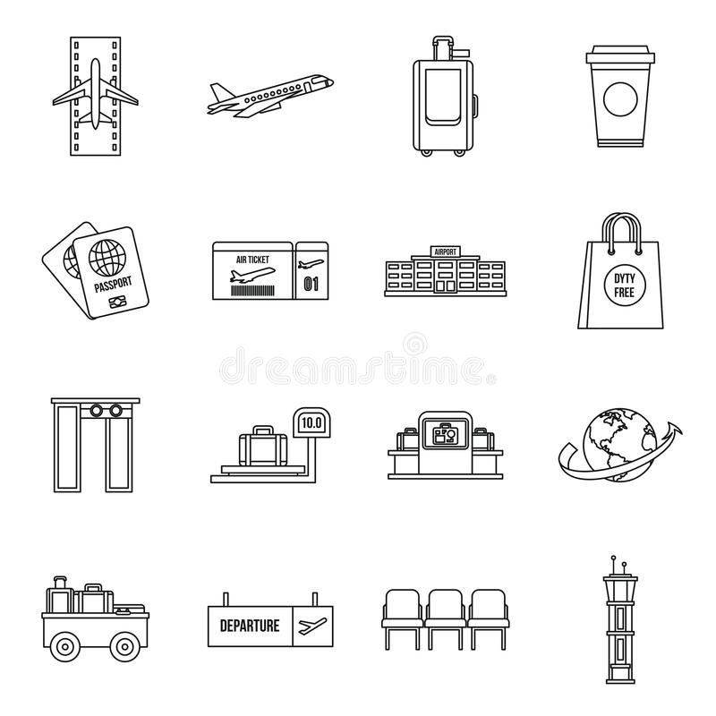 Airport icons set, outline style royalty free illustration