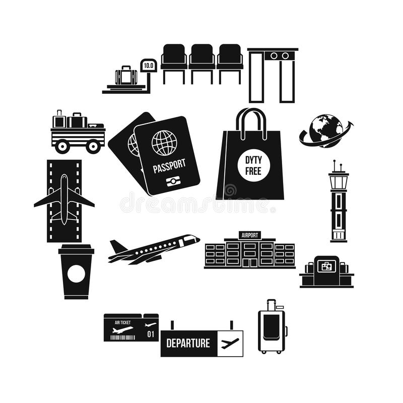 Airport icons set, simple style vector illustration