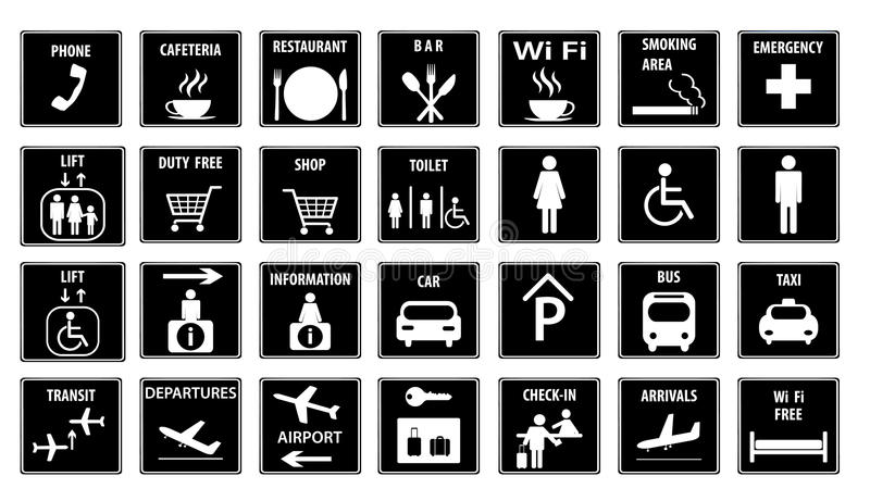 Airport Icons Set.Vector illustration stock illustration