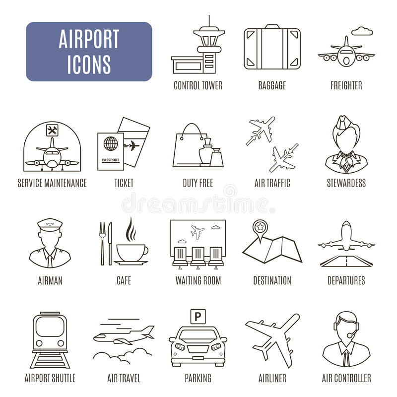 Airport icons. Set of vector pictograms. For web graphics vector illustration