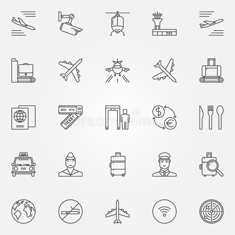 Airport icons set - vector thin line air travel symbols. Airport. Outline signs or logo elements royalty free illustration
