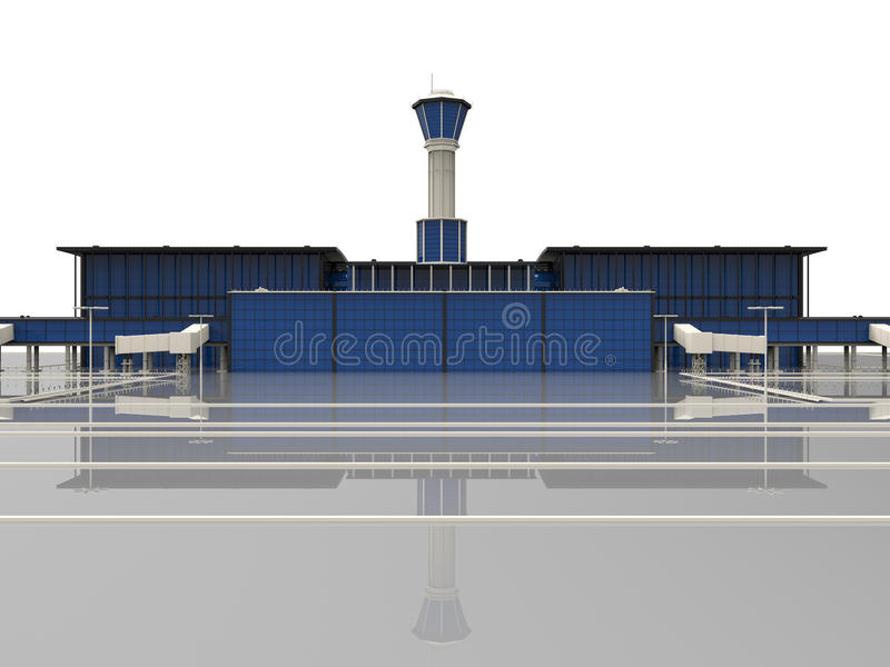 Airport illustration. 3D render illustration of an airport with a takeoff runway and control tower. The object is isolated on a white background vector illustration