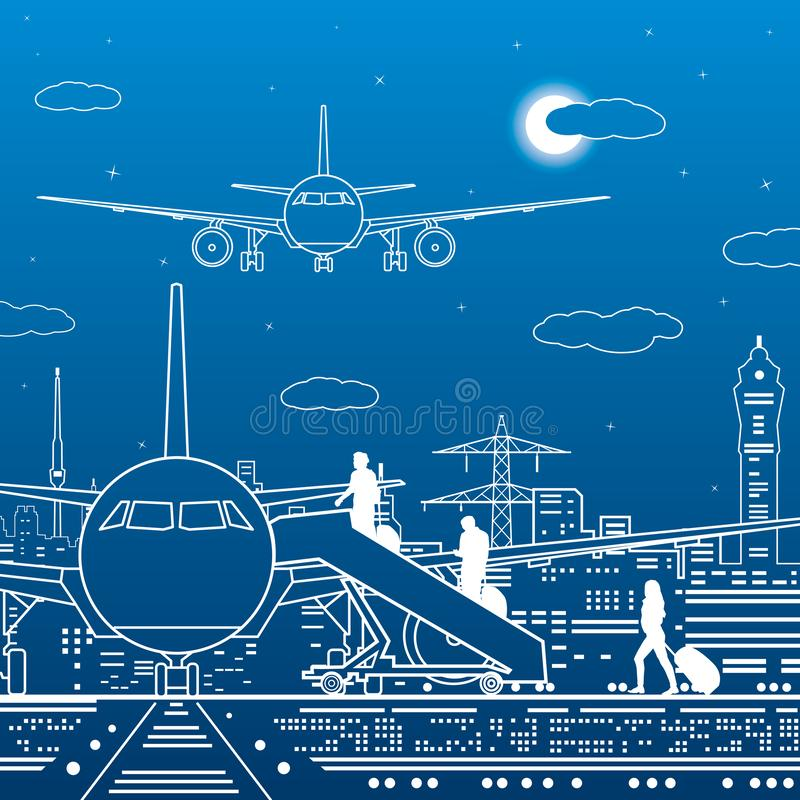 Airport illustration. Passengers go to the airplane. Aviation travel transportation infrastructure. The plane is on the runway. Ni. Ght city on background stock illustration