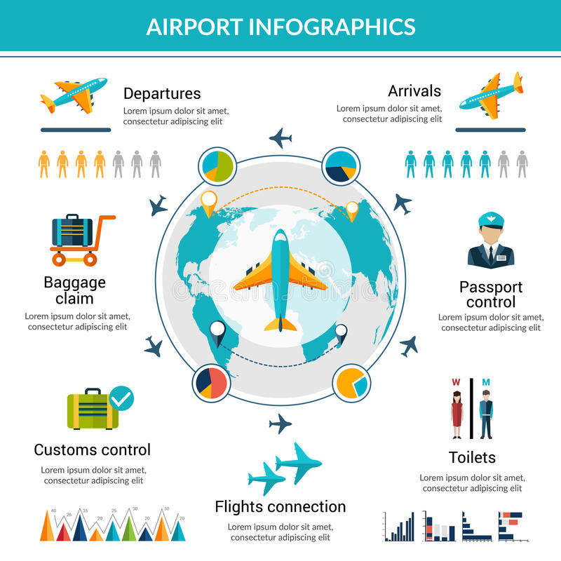 Airport Infographic Set stock illustration