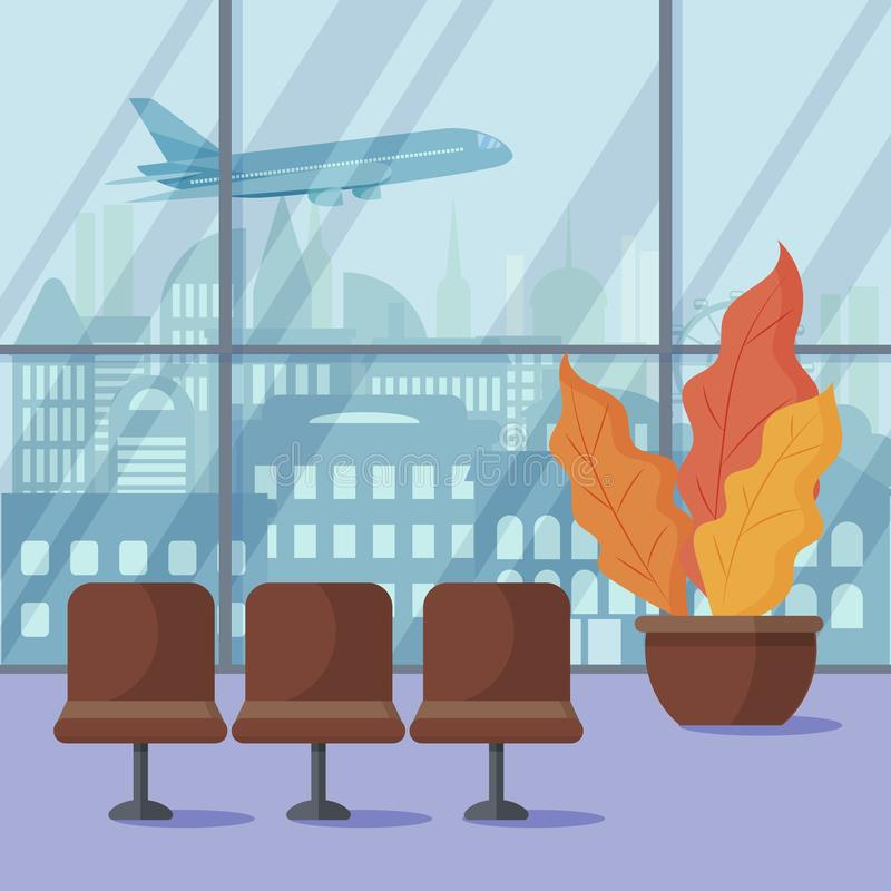 Airport from the inside. The plane takes off. Flat vector design. Airport from the inside. The plane takes off. View from the window on the metropolis. Waiting vector illustration