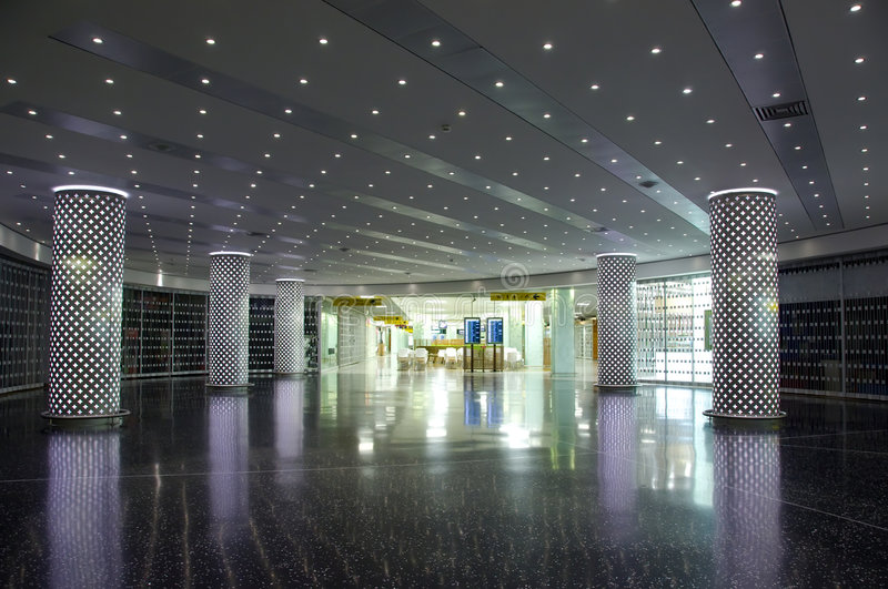 Airport interior. Sign and lights royalty free stock photography