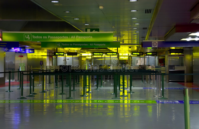 Airport interior. Sign and lights stock image