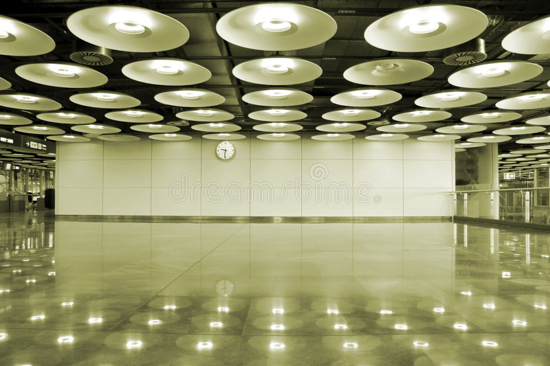 Airport interior. And lights in Madrid, Spain royalty free stock photo