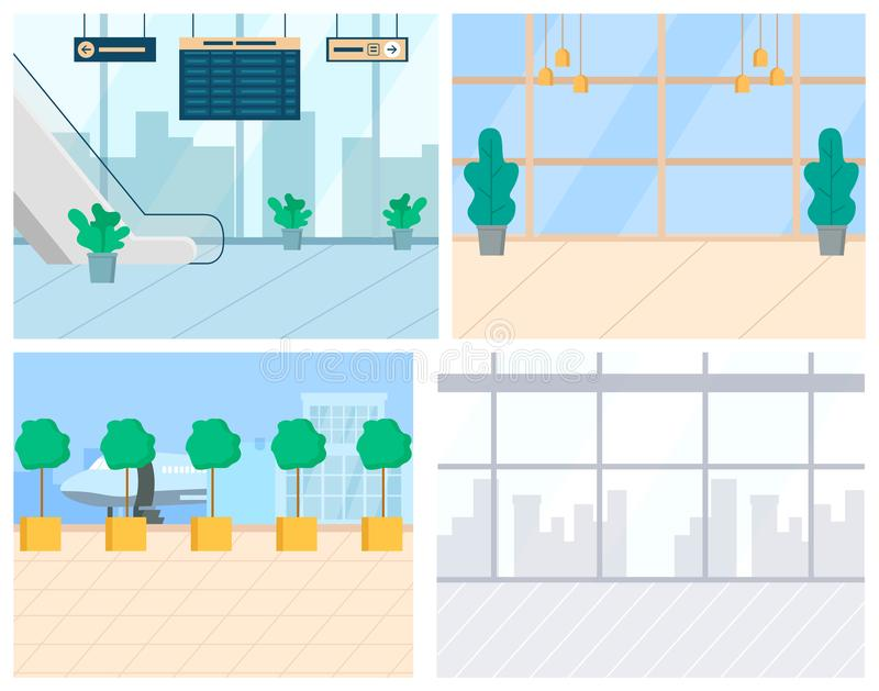 Airport Elements, Escalator and Runway Vector. Airport interior. Escalator and information board, runway with plane and observation deck windows. Air travelling royalty free illustration
