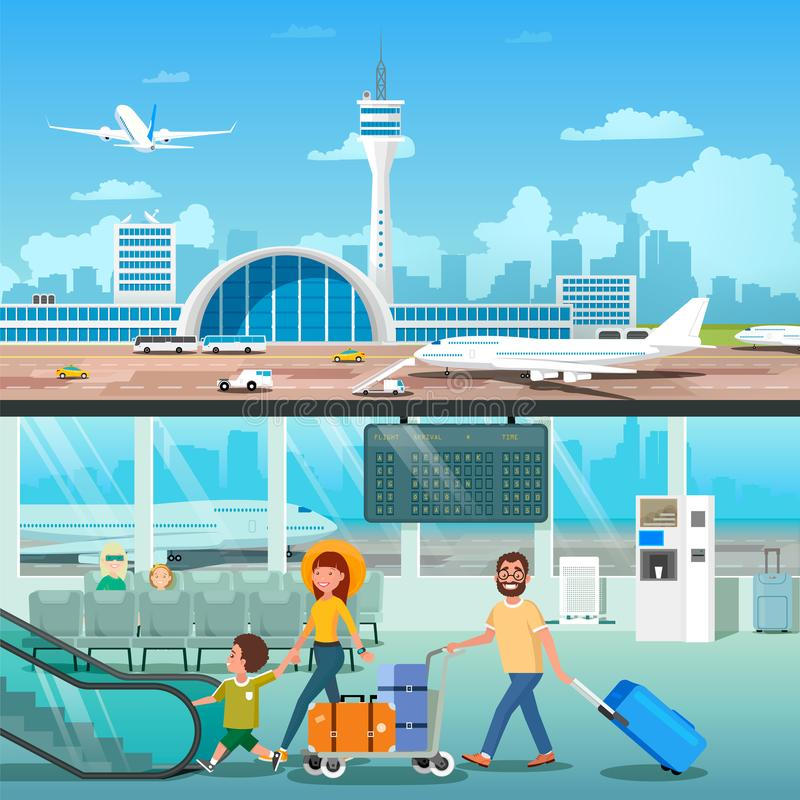 Airport Interior Family Hall Departure Terminal. Banner Set of Airport Interior with Going Family in Interior Hall Departure and Modern Terminal Outside View royalty free illustration