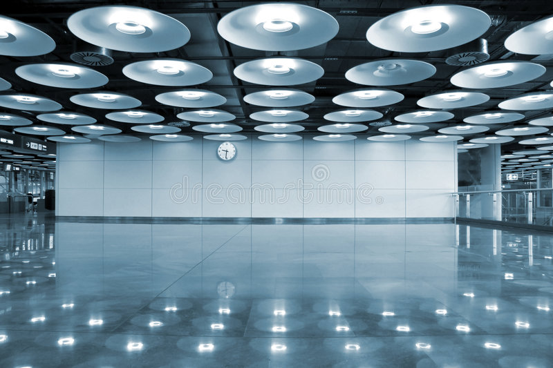 Airport interior and lights. Madrid, spain royalty free stock images
