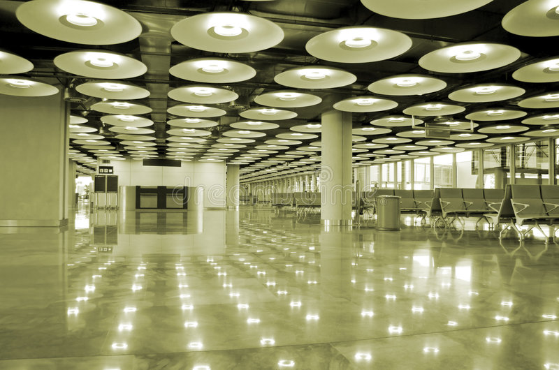 Airport interior and lights. Madrid, spain stock image