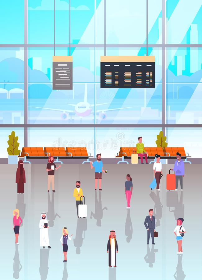 Airport Interior With Passangers Crowd Walking To Waiting Hall And Departure Lounge, Terminal People Holding Suitcases. Flat Vector Illustration royalty free illustration
