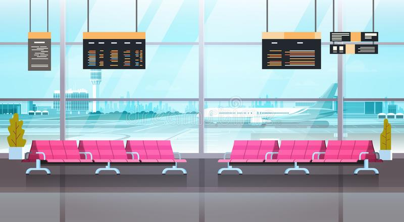 Airport Interior Waiting Hall Departure Lounge Modern Terminal Concept. Flat Vector Illustration vector illustration