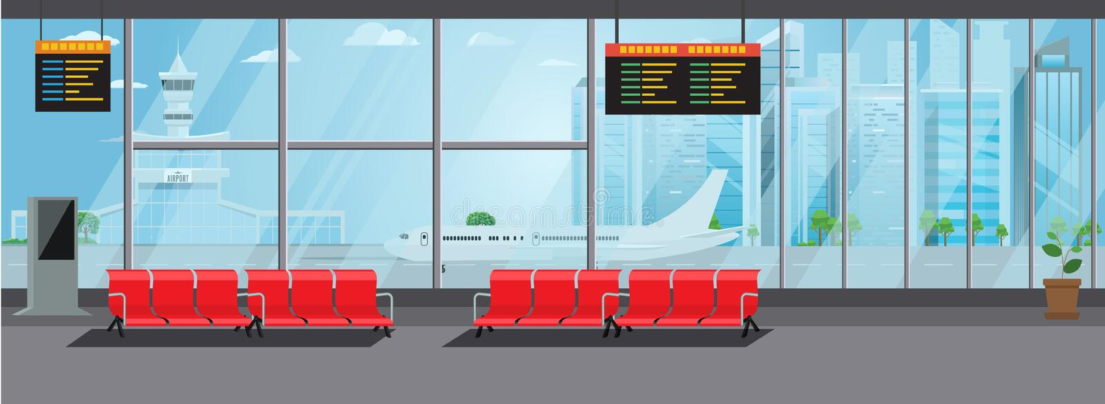 Airport Interior Waiting Hall Departure Lounge Modern Terminal Concept. High Detailed Flat color Vector Illustration. Airport Interior Waiting Hall Departure vector illustration