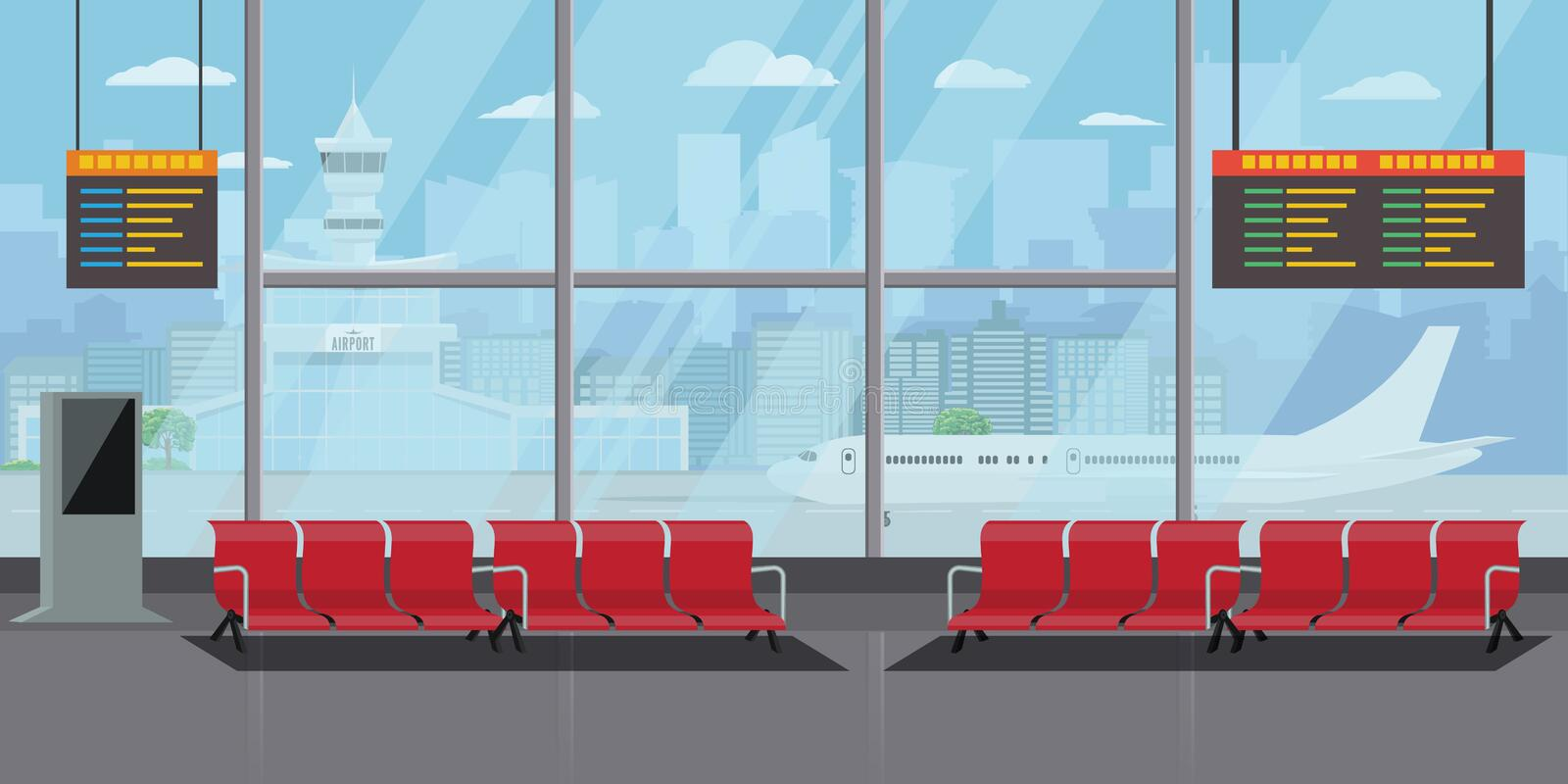 Airport Interior Waiting Hall Departure Lounge Modern Terminal Concept. High Detailed Flat color Vector Illustration. Airport Interior Waiting Hall Departure royalty free illustration