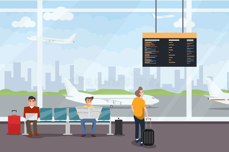 Airport interior waiting hall departure lounge modern terminal. Smiling people sitting and standing in airport arrival waiting roo. M or departure lounge with vector illustration