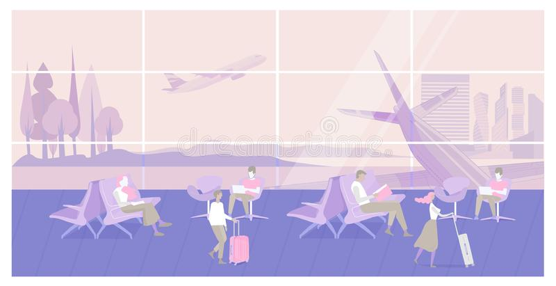 Airport interior waiting hall. People sitting and walking in Airport interior waiting hall with aircraft, airplane. Passenger seats in departure lounge modern stock illustration